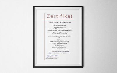 P&K für Venezianische Steinböden zertifiziert
